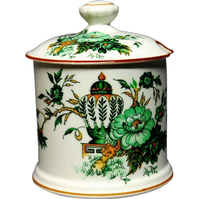 Crown Staffordshire Porcelain Conserve Jar Kowloon England Antique