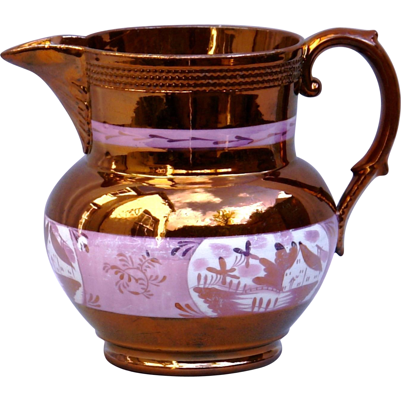 Antique English Staffordshire Copper Sunderland Lustre Pottery Pitcher c1840