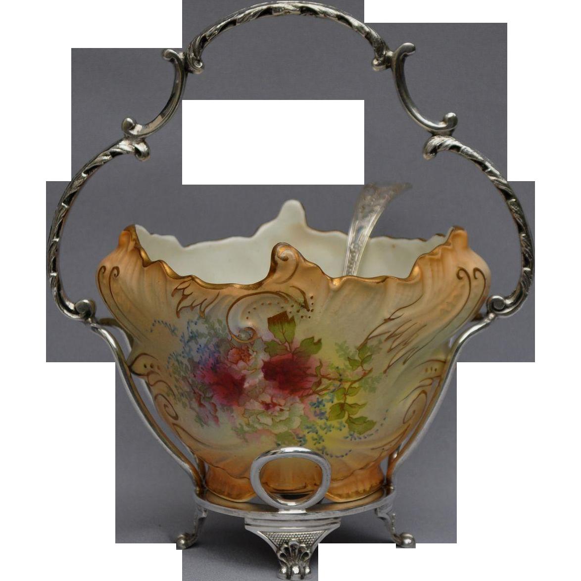 Pottery Crown Devon Fieldings Sugar Bowl EPNS Rococo Empire Spoon Antique