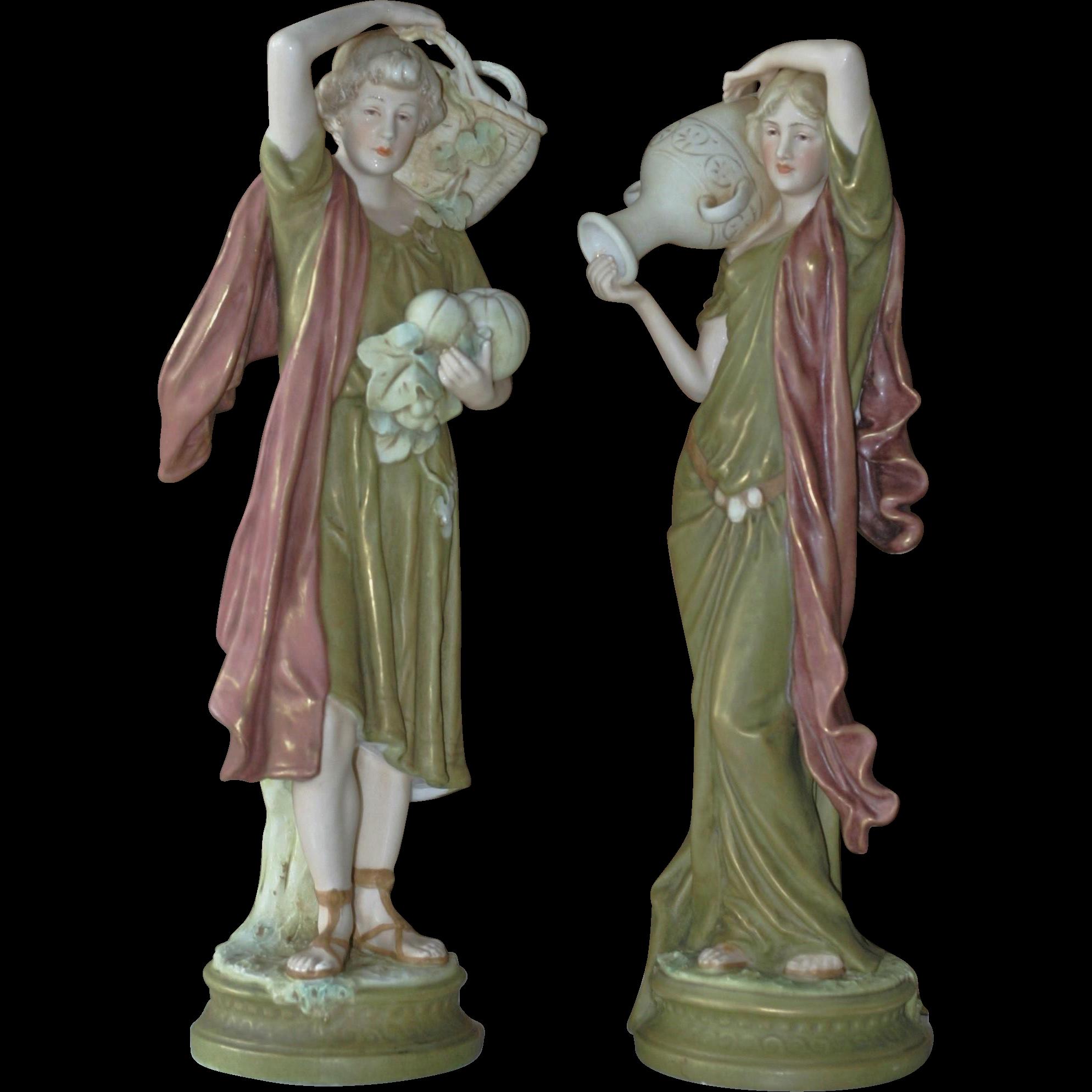 Royal Dux Porcelain Figures Pink Triangular Mark Bohemian Czechoslovakia