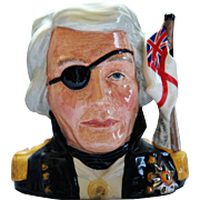 Royal Doulton Character Jug Nelson D6983 Small White Ensign telescope eye-patch medal