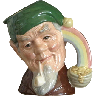 Royal Doulton Character Jug Leprechaun D6899 Pipe rainbow Gold Coins