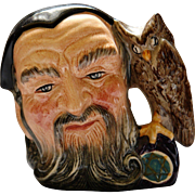 Royal Doulton Character Jug Merlin D6536 Medieval Wizard Alchemist Star of David Beard                Owl