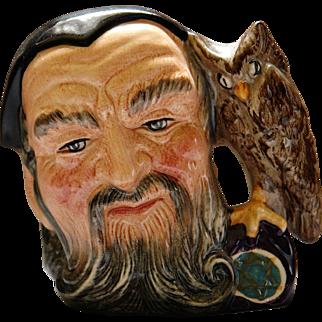 Royal Doulton Character Jug Merlin D6536 Medieval Wizard Alchemist Star of David Beard                Owl