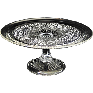 Glass Soda Bubbles Cake 3 Part Moulded Stand Lemon Squeezer Base Circular Top Platform Repetitive Diminishing Opposing Curved Radial Fluting Squares Pinnacles Pillar