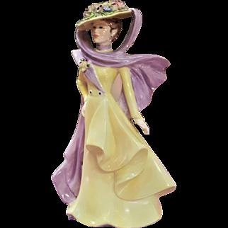 Coalport Lady Figurine 1987 English Edwardian Fashion The Ascot Lady Floral Hat Corsage Posey