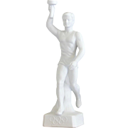 Olympic Torch Bearer Figurine 1936 Berlin Male Arian Athlete Parian Porcelain