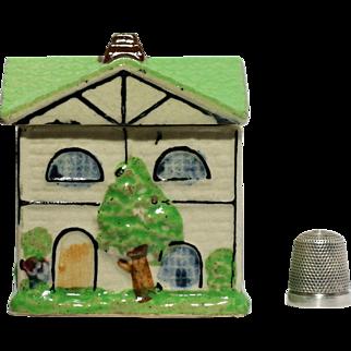 Pottery Country Brick Cottage Cruet Mustard Pot Painted Tiled Roof  Chimney Gables Windows Glass Door  Frame Green Tree Grass Borders Shrubs
