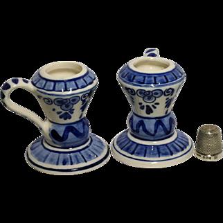 Vintage Delft Dutch Holland Elesva Blue & White Pottery Candle Sticks