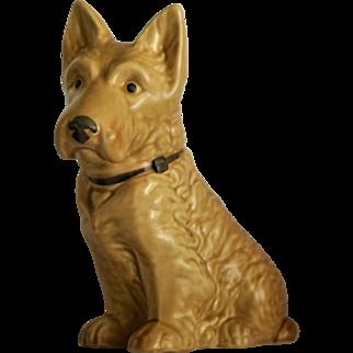 Sylvac Animal Figure Faun Coloured Scottie Dog England Rd.778504 Model no.1207 c1915 Curls Collar