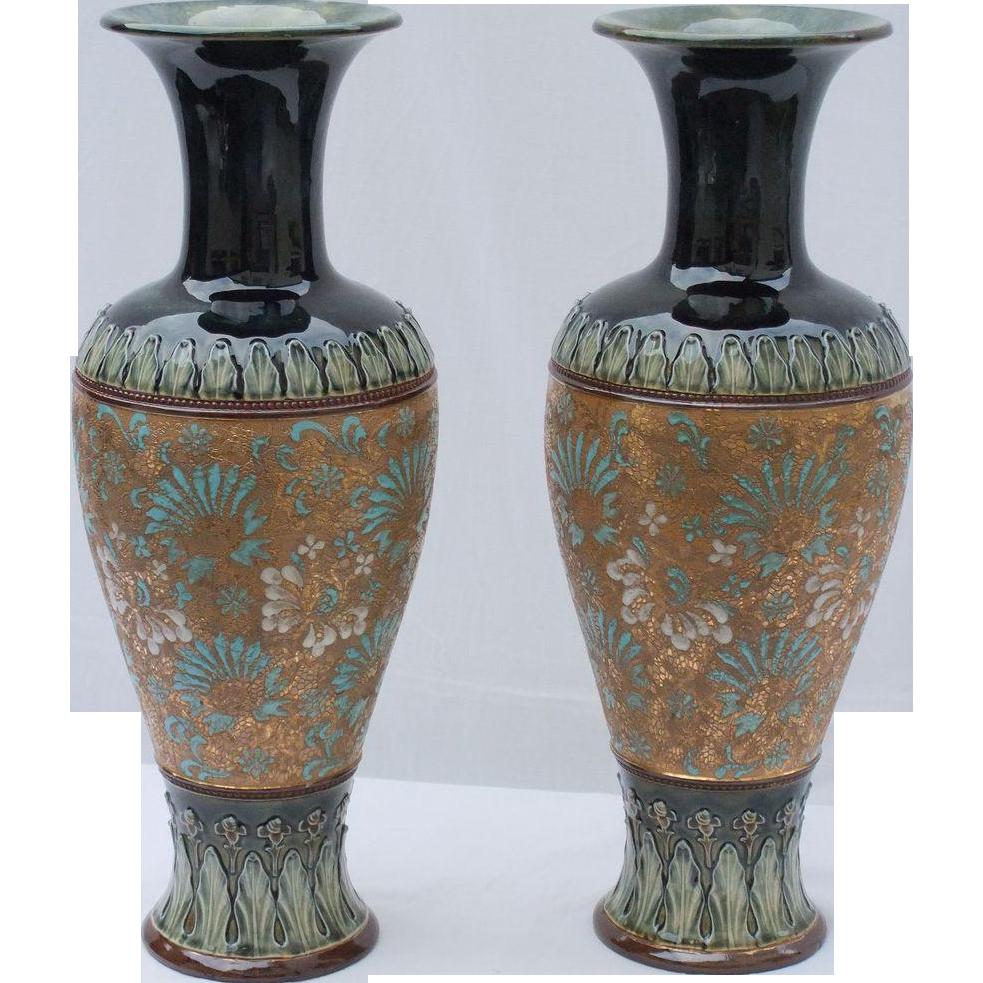 Antique, Large Royal Doulton Vases, 'Doulton & Slaters Patent'.