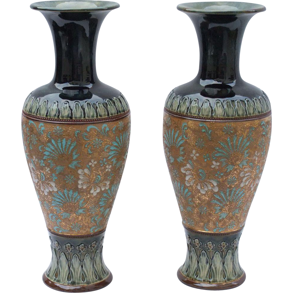 Antique, Large Royal Doulton Vases, 'Doulton & Slaters Patent'.