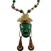 "Designer Signed ""Laton"" Made In Mexico Malachite Mixed Metal Aztec Tribal Warrior Necklace"