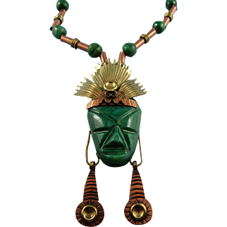 """Designer Signed """"Laton"""" Made In Mexico Malachite Mixed Metal Aztec Tribal Warrior Necklace"""