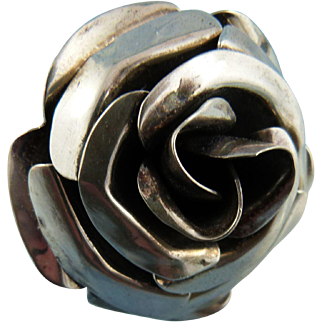 Signed Sterling Silver Large Statement Rose Ring