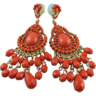 KJL Kenneth Jay Lane Coral Chandelier Post Back Earrings