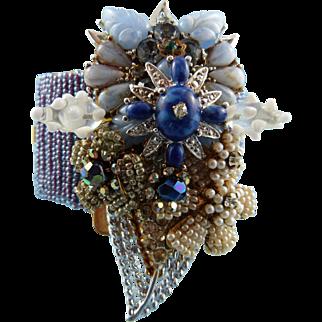 Signed Stanley Hagler Sapphire Blue Floral Cuff Statement Bracelet