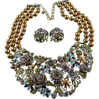 Signed Heidi Daus Golden Bead Crystal Floral Statement Necklace Set