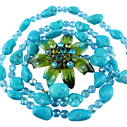Signed Cara New York Turquoise/crystal Statement Necklace With Large Enamel Floral Clasp