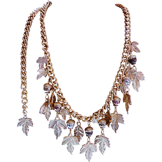"Vintage Couture "" Golden Oak "" Statement Necklace"