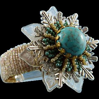 Statement Austrian Crystal & Turquoise Snowflake Cuff Bracelet Designed & Signed Stanley Hagler: Mint