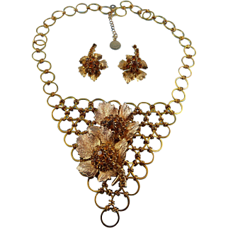 Tapestry Necklace With Golden Floral Pin & Matching Earrings