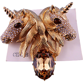 Designer Signed Ciner Rare Crystal Double Unicorn Pin/Brooch Mint