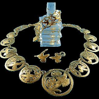 Signed Wild Bryde Jewelry 14k Plated Hummingbird Necklace Bracelet & Earring Set