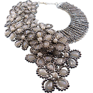 French Crystal Cluster Bib Front Statement Necklace