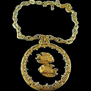 Signed Art Huge Glass Pendant  Necklace