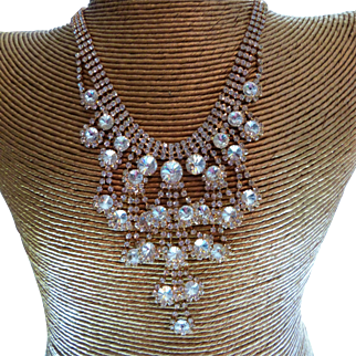 Crystal Waterfall Bib Front Statement Necklace