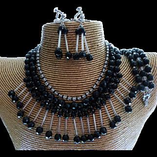 Vintage Crystal & Glass Statement Necklace Bracelet & Earring Set