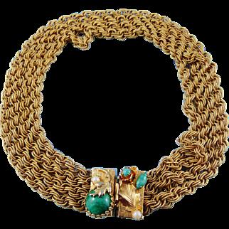 Golden Multi Strand Choker With Semi Precious Gems Clasp