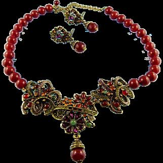 Signed Heidi Daus Swarovski Crystal Garden Statement Necklace Set