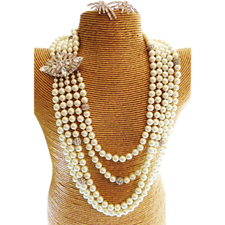 Couture Statement Glass Pearl Swarovski Crystal Necklace With Authentic D&E Clasp & Earrings