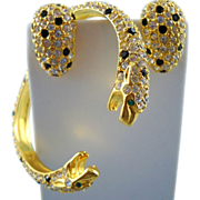 Kenneth Jay Lane Austrian Crystal Twin Leopard Head Bracelet And Matching Earrings