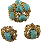 Stunning Signed Boucher Turquoise Stone Swarovski Crystal Brooch Set  ~ Book Piece