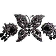 Signed Graziano Dazzling Jet Crystal Butterfly Pin And Matching Earrings