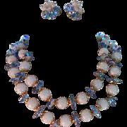 Signed Vendome ~ Soft Blue Crystal ~ Double Strand Demi parure