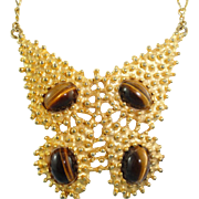 Gorgeous Signed KJL Kenneth Jay Lane  Vintage Ex Large Cat's Eye Butterfly Necklace Mint
