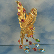 Vintage Bird of Paradise Pin By Graziano