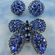 Signed Vendome Large Sapphire Blue Butterfly Pin & Earring Set