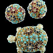 Vintage Rare Ciner Golden Crystal Figural Trembler Turtle Pin And Earring Set