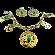Vintage Hattie Carnegie Asian Theme Jadite Charm Bracelet & Earring Set