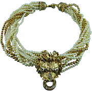 Vintage Golden Lion Head Crystal & Faux Pearl Statement Necklace