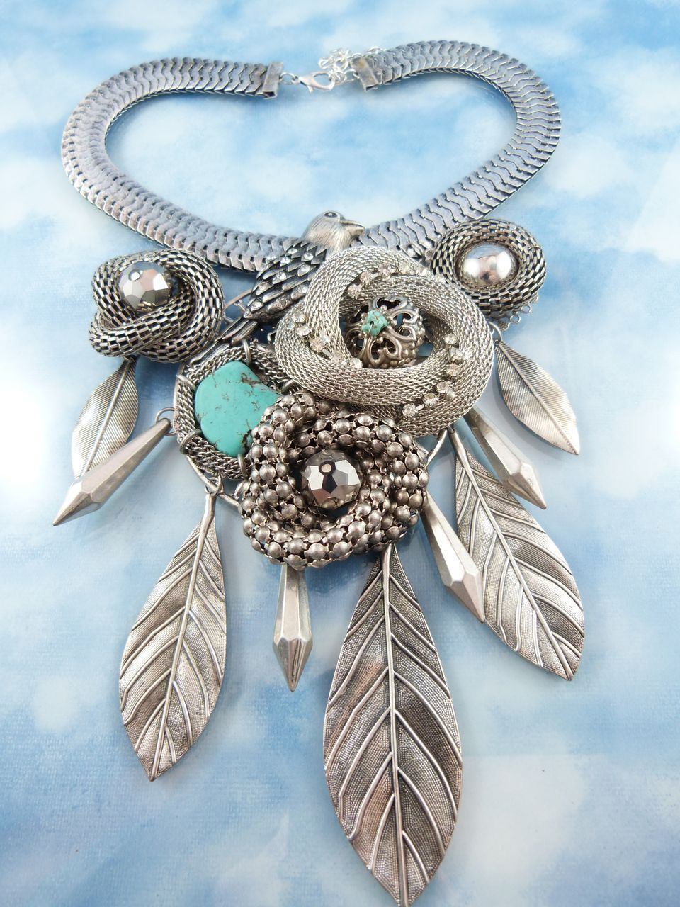 Designer Modernist Bird Sanctuary Silver Tone Crystal Turquoise Statement Runway Necklace