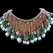 Hobe Vintage Bakelite & Glass Fringe Bib Dangle Necklace