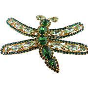 Signed Thorin Stunning Huge Peridot & Emerald Green Crystal Dragonfly Brooch
