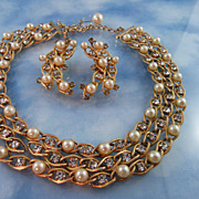 Signed Hobe Crystal & faux Pearl Collar & Earring Set