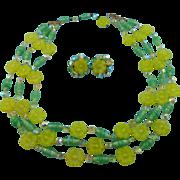 Designer Signed Vogue Triple Strand Glass Floral Bead Necklace Set